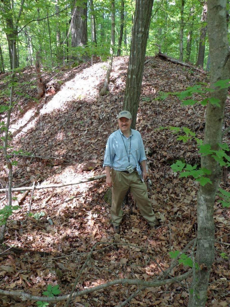 Phil documenting the fortifications of the Chattahoochee River Line Battlefield in Cobb County, Georgia in 2013.""